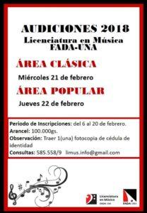 Licenciatura en Música FADA/UNA – Audiciones 2018