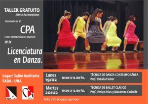 Licenciatura en Danza – Taller Gratuito para interesados en el Curso Preparatorio de Admisión 2018