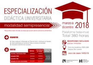 Especialización Didáctica Universitaria 2018
