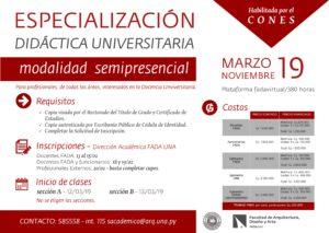 Especialización en Didáctica Universitaria – Modalidad Semipresencial