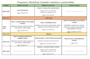 Programa_Workshop ciudades creativas y sustentables