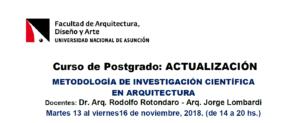 """Curso de Postgrado: Actualización """"Metodología de Investigación Científica en Arquitectura"""""""