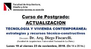 """Curso de Postgrado: Actualización """"Tecnología y Vivienda Contemporánea: estrategias y recursos técnico-constructivos"""""""