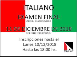 Examen Final – 2do Llamado – ITALIANO