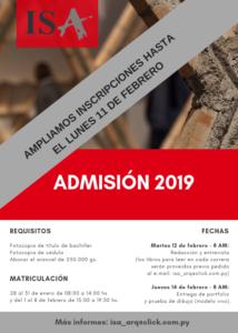 ISA – Admisión 2019