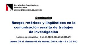 Seminario: Rasgos retóricos y lingüísticos en la comunicación escrita de trabajos de investigación