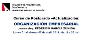 Curso de Postgrado – Actualización: ORGANIZACIÓN EMPRESARIAL