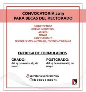 Convocatoria 2019 para Becas del Rectorado para todas las Carreras de la FADA