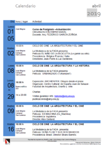 Calendario de Actividades de la FADA mes de abril