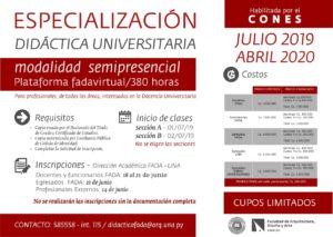 Especialización en Didáctica Universitaria – Convocatoria Julio 2019