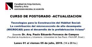 """Curso de Postgrado – Actualización: Tecnologías para la Construcción del Hábitat Social: La contribución del microconcreto de alto desempeño (MICROCAD) para el desarrollo de la prefabricación liviana"""""""